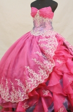 Beautiful Ball gown Sweetheart Floor-length Organza Hot Pink Quinceanera Dresses Appliques with Beading Style FA-Y-0093