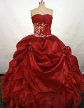 Brand New Ball Gown Sweetheart Floor-length Wine Red Taffeta Appliques Quinceanera Dress Style FA-L-119