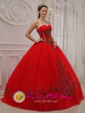 Customer Made Wholesale Tulle Sweetheart Appliques Decorate Quinceanera Dress With Floor-length In Caapucu Paraguay Style QDZY294FOR