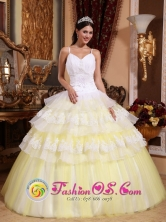 Customize Colorful Gorgeous Elegant Quinceanera Dress With Spaghetti Straps Appliques and Ruffles Layered La Victoria Paraguay Style QDZY488FOR