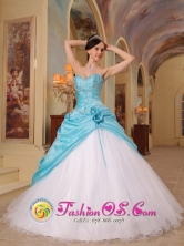 Customize Sexy Sweetheart Princess Wholesale Aqua Blue and White Quinceanera Dress For Sweet 16 In Itape Paraguay Style QDZY456FOR