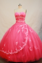 Discount Ball Gown Sweetheart Neck Floor-Length Tulle Hot Pink Quinceanera Dresses Style FA-Y-120