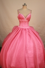 Elegant Ball Gown Strap Floor-length Rose Pink Organza Beading Quinceanera Dress Style FA-L-178
