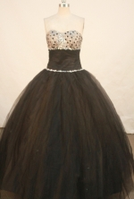 Elegant Ball Gown Strapless Floor-length Black Organza Beading Quinceanera Dress Style FA-L-133