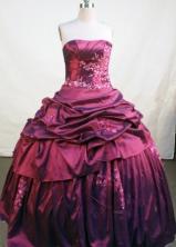 Elegant Ball Gown Strapless Floor-length Burgundy Taffeta Beading Quinceanera Dress Style FA-L-132