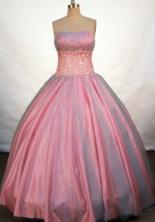 Elegant Ball Gown Strapless Floor-length Pink Taffeta Beading Quinceanera Dress Style FA-L-122