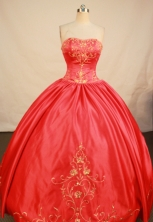 Elegant Ball Gown Strapless Floor-length Red Satin Embroidery Quinceanera Dress Style FA-L-193
