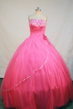 Elegant Ball Gown Strapless Floor-length Rose Pink Taffeta Beading Quinceanera Dress Style FA-L-200