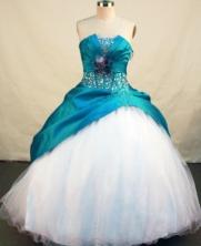 Elegant Ball Gown Strapless Floor-length Teal Taffeta Beading Quinceanera Dress Style FA-L113