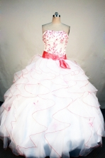 Elegant Ball Gown Strapless Floor-length White Organza Embroidery Quinceanera Dress Style FA-L-187