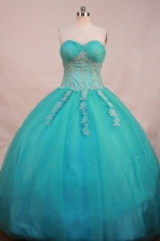 Elegant Ball Gown Sweetheart Floor-length Aqua Blue Satin Appliques Quinceanera Dress Style FA-L-196