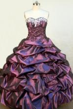 Elegant Ball Gown Sweetheart Floor-length Dark Purple Taffeta Embroidery Quinceanera Dress Style FA-L-102
