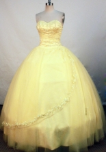 Elegant Ball Gown Sweetheart Floor-length Gold Beading Quinceanera Dress Style FA-L-140