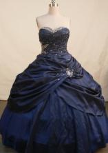 Elegant Ball Gown Sweetheart Floor-length Navy Blue Taffeta Beading Quinceanera Dress Style FA-L-131