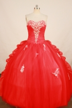 Elegant Ball Gown Sweetheart Floor-length Red Appliques Quinceanera Dress Style FA-L-168