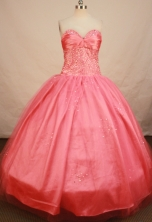 Elegant Ball Gown Sweetheart Floor-length Satin Waltermelon Beading Quinceanera Dress Style FA-L-148