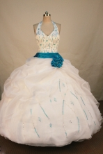 Exclusive Ball Gown Halter Top Floor-length White Organza Beading Quinceanera Dress Style FA-L-189