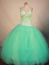 Exclusive Ball Gown Strap Floor-length Apple Green Organza Beading Quinceanera Dress Style FA-L-186