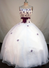 Exclusive Ball Gown Strap Floor-length White Organza Appliques Quinceanera Dress Style FA-L-170