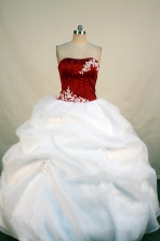 Exclusive Ball Gown Strapless Floor-length White Organza Appliques Quinceanera Dress Style FA-L-101