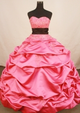 Exclusive Ball Gown Sweetheart Floor-length Rose Pink Taffeta Beading Quinceanera Dress Style FA-L-158