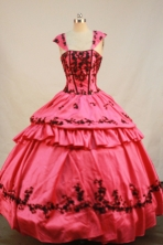 Exquisite Ball Gown Strap Floor-length Waltermelon Taffeta Embroidery Quinceanera Dress Style FA-L-202