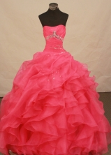 Exquisite Ball Gown Strapless Floor-length Coral Red Organza Beading Quinceanera Dress Style FA-L-181