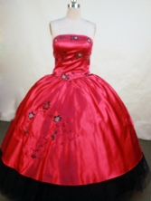 Exquisite Ball Gown Strapless Floor-length Wine Red Satin Embroidery Quinceanera Dress Style FA-L-144