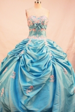 Exquisite Ball Gown Sweetheart Floor-length Aqua Blue Taffeta Appliques Quinceanera Dress Style FA-L-201