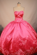 Exquisite Ball Gown Sweetheart Floor-length Coral Red Satin Embroidery Quinceanera Dress Style FA-L-191
