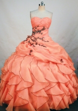Exquisite Ball Gown Sweetheart Floor-length Orange Organza Appliques Quinceanera Dress Style FA-L-177