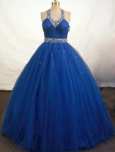 Fashionable Ball Gown Halter Top Floor-length Royal Blue Organza Beading Quinceanera Dress Style FA-L-115