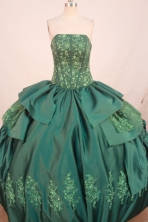 Fashionable Ball Gown Strapless Floor-length Hunter Embroidery Quinceanera Dress Style FA-L-167