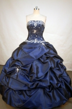 Fashionable Ball Gown Strapless Floor-length Navy Blue Taffeta Appliques Quinceanera Dress Style FA-L-184