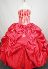 Fashionable Ball Gown Strapless Floor-length Red Taffeta Appliques Quinceanera Dress Style FA-L-161