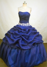 Fashionable Ball Gown Strapless Floor-length Royal Blue Organza Appliques Quinceanera Dress Style FA-L-171