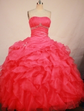 Gorgeous Ball Gown Strapless Floor-length Red Organza Beading Quinceanera Dress Style FA-L-194