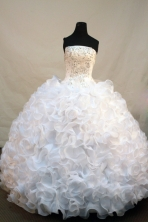 Gorgeous Ball Gown Strapless Floor-length White Organza Beading Quinceanera Dress Style FA-L-206
