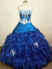 Gorgeous Ball Gown Sweetheart Floor-length Blue Organza Appliques Quinceanera Dress Style FA-L-208