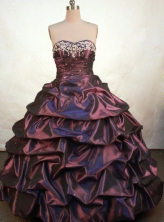 Gorgeous Ball Gown Sweetheart Floor-length Burgundy Taffeta Embroidery Quinceanera Dress Style FA-L-128