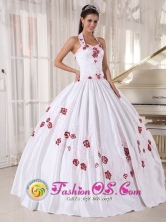 Halter Top White Quinceanera Dress Taffeta Embroidery Ball Gown For Summer Party In Aguaray Paraguay Style PDZY568FOR
