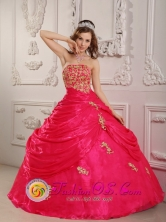 Hot Pink Appliques Decorate Strapless Layered Ruching Ball Gown for 2013 Quinceanera In Aregua Paraguay Style QDZY081FOR