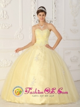 Light Yellow Quinceanera Dress With Sweetheart Ruched Bodice Organza Appliques for Sweet 16 In General Delgado Paraguay Style QDML063FOR