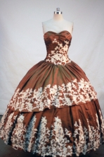 Modest Ball Gown Sweetheart Floor-length Brown Taffeta Appliques Quinceanera Dress Style FA-L-203