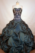 Modest Ball Gown Sweetheart Floor-length Hunter Green Taffeta Beading Quinceanera Dress Style FA-L-173