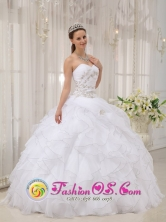 Modest White Ruffles Elegant 2013 Spring Quinceanera Dress With Sweetheart Appliques and Ruch Organza In San Estanislao Paraguay Style QDZY479FOR