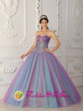 Multi-color Quinceanera Dress For Elegant Style Sweetheart Tulle Beading  Stylish 2013 Ball Gown In Repatriacion Paraguay Style QDZY469FOR