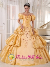 Off The Shoulder and Short Sleeves Yellow Quinceanera Dress With Embroidery and Pick-ups for 2013 In Acahay Paraguay Style PDZY538FOR