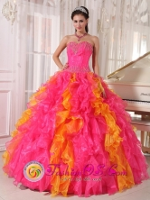 Organza Orange Red and Hot Pink  Wholesale 2013 Quinceanera Dress with Ruffles Beaded Decorate For Sweet 16 In Menno Colony Paraguay Style PDZY710FOR