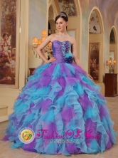 Organza Wholesale The Most Popular Purple and Aqua Blue Quinceanera Dress With Sweetheart neckline Ruffles Decorate in Fall In Cerrito Paraguay Style QDZY453FOR
